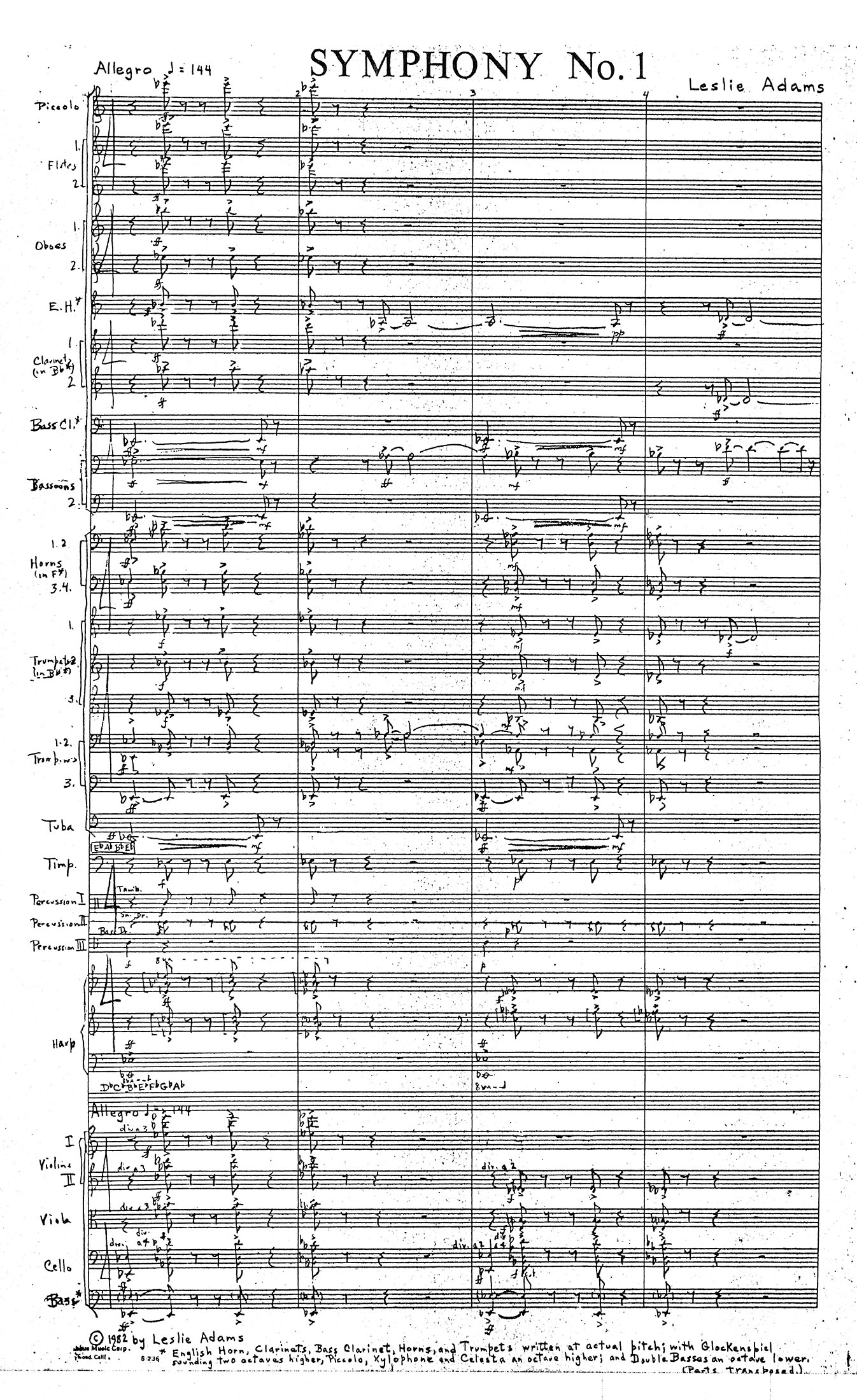 Symphony 1 by H. Leslie Adams, page 1 of 383