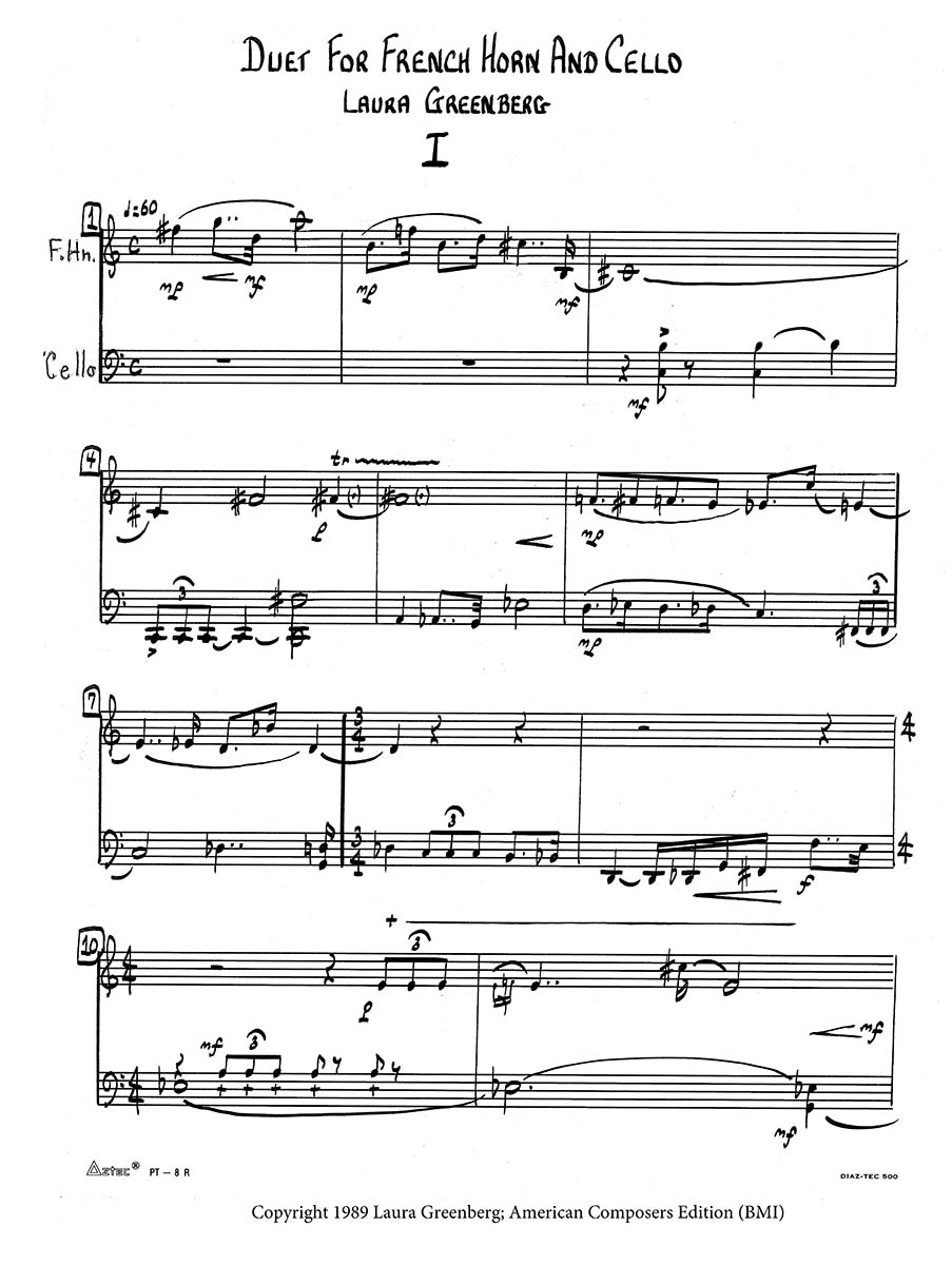 Duet for Horn and Cello page 1