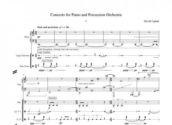 Concerto for Piano and Percussion - David Liptak